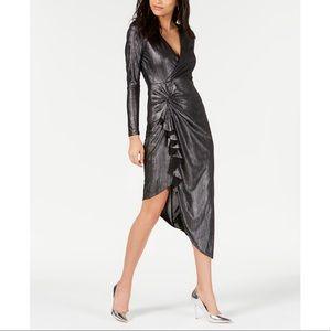 GUESS Riviera Metallic Faux-Wrap Dress
